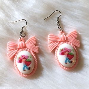 Handmade Strawberry Shortcake Drop Earrings Pink